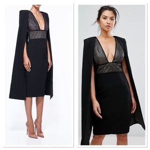 NWT MISHA COLLECTION Tyra Sequin Cape Dress